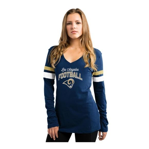 50439959 NFL Womens V Neck Shirt Los Angeles Rams New NWT